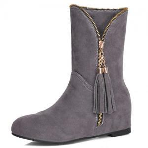 Winter Round Toe Zipper Design Tass..