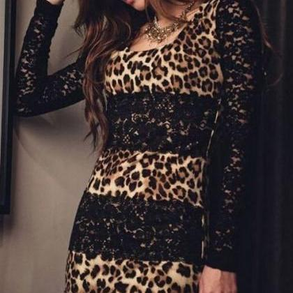 Sexy Lace And Leopard Print Dress
