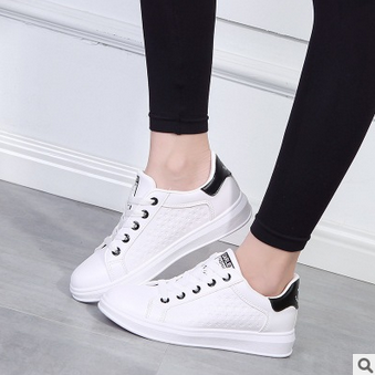 White Leather Lace-Up Trainers with..