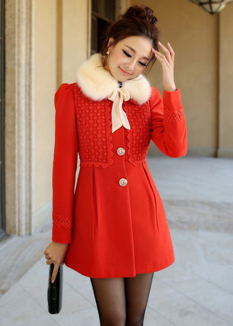 High Quality Woolen Coats With Fur Neck- Red