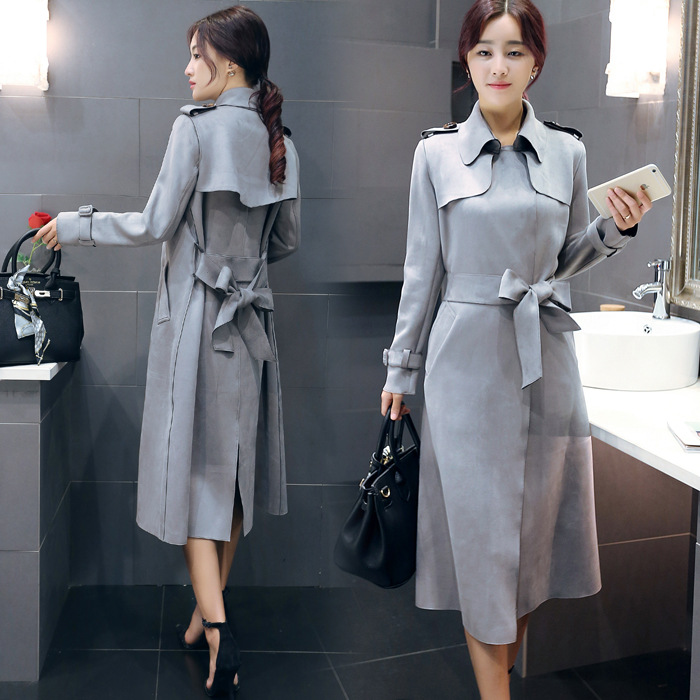 dca8e30dca389 Grey Suede Plus Size Long Trench Coat For Women OL Fashion Windbreaker  Outerwear
