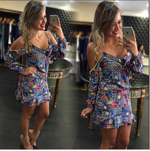 The New Harness Long-Sleeved Sexy Dew Shoulder Waist Print Dress ZBY