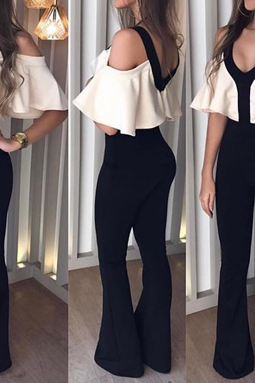 Sexy v-neck, slim waist jumpsuit
