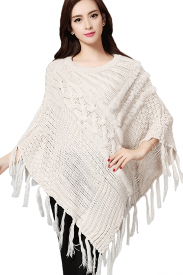Ladies Tassel Crew Neck Chic Cloak Pullover Sweater Beige White