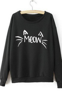 Pure color round neck long sleeve letters cat T-shirt MS