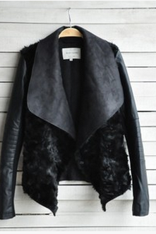 Ms short winter new European and American fashion fuzz PU jacket JM