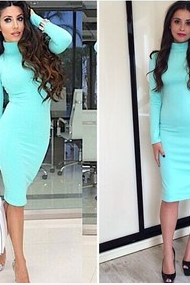 Pure color long sleeve turtleneck dress pencil skirt JZH