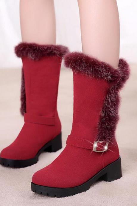 Women's Pure Color Flat Heel Band Wool Medium Length Boots