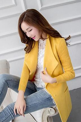 Fashion Solid Color Lapel Wool Coat