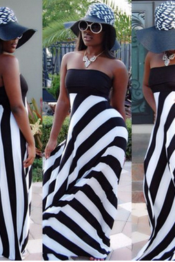 Summer brought a word wrap chest stripe splicing dress Long skirt TY