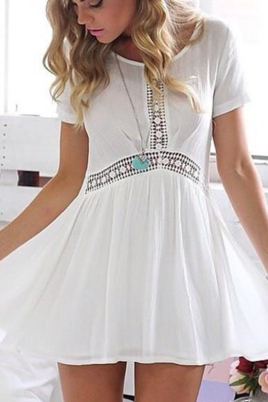 Cute short sleeve lace dress