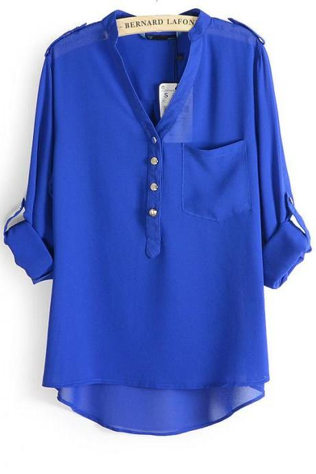 One Pocket V Neck Chiffon Shirt Long Sleeve T-shirt Plus Size Top