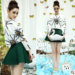 Giant spider skirts of space cotton blouse umbrella skirt suits