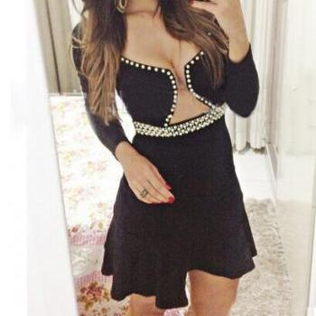 Low-Cut Halter Sexy Long Sleeve Beaded Skirts Siamese