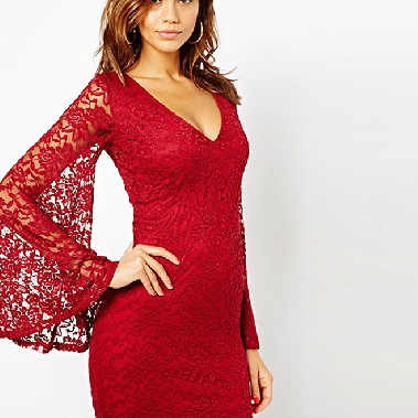 Long-Sleeved Lace Trumpet Sleeve V-Neck Dress Sexy Tight Slim