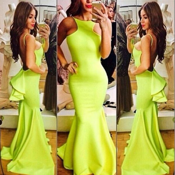 New Fashion Women Sexy Fluorescent Yellow Long Halter Dovetail Dress