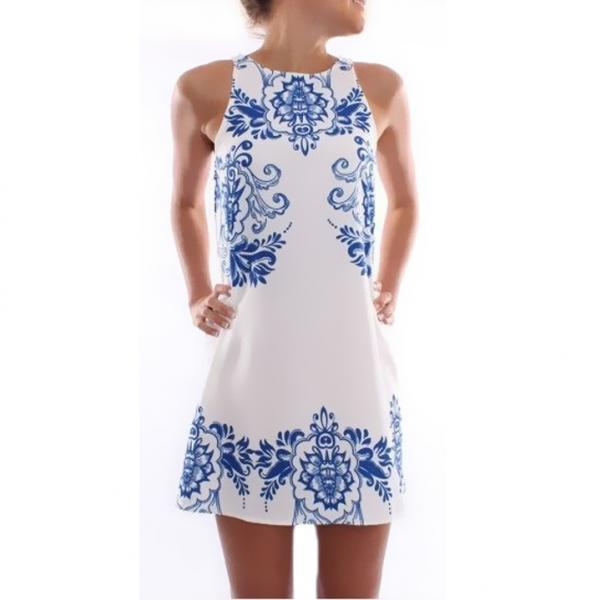 New Women Dress Summer Fashion Elegant Dress Sleeveless Print Dress