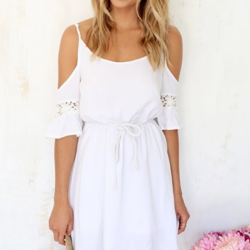 Stitching white chiffon dress with short sleeves TY