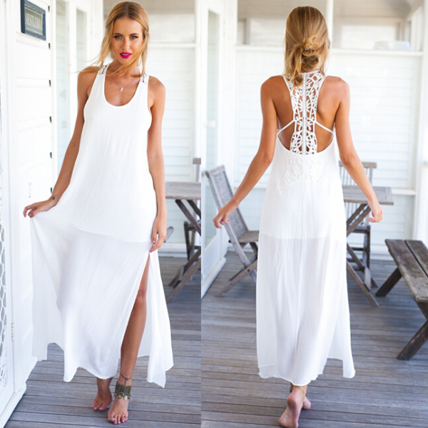 cf6309db34ff White Chiffon Sleeveless Scoop Neck Maxi Dress Featuring Lace Cutout Back  And High Slits on Luulla