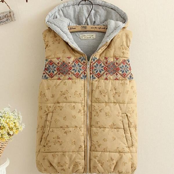 Embroidered Cotton Hooded Vest