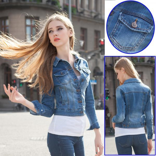 98021a0c811 Medium Washed Cropped Denim Jacket on Luulla