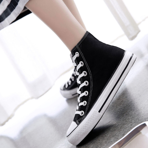 High help color canvas shoes female students with flat casual shoes AMM